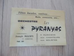 Musique Carte De Visite CDV Orchestre Les Pyranyas Augusti Ginestas Aude - Musique & Instruments