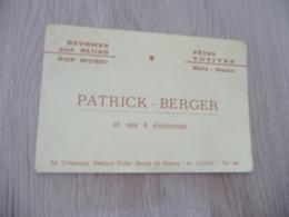Musique Carte De Visite CDV Orchestre Patrick Berger Rythmes And Blues Pop Lunel Hérault - Musique & Instruments
