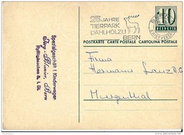 """22 - 55 - Entier Postal Avec Superbe Oblit Mécanique """"25 Jahre Tierpark Dählhölzli Bern 1962 - Entiers Postaux"""