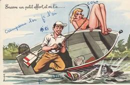 Illustrateur : Pin-up à La Péche - Encore Un Petit Effort, Et On L'a - Carrière, Louis