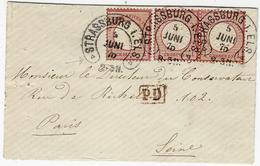1875- Enveloppe De Strasbourg Pour Paris Affr. 1 Gr X 3 Oblit. Fer à Cheval STRASSBURG Avec  Triangle - Elsass-Lothringen