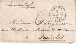 FRANCE 1849  LETTRE DE TOURS POUR SAINTES - Marcophilie (Lettres)