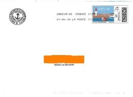 """Montimbrenligne Lettre Verte 20 Gr """"Bretagne Phare Bateau Mer"""" Toshiba Logo Anciens Marins - France"""