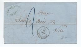 1858 - LETTRE De MENTON / MENTONE (COMTE DE NICE / ALPES MARITIMES) Avec CACHET SARDE - 1849-1876: Classic Period