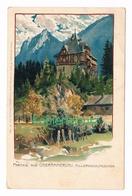 611 Zeno Diemer Oberammergau Hillernschlößchen Litho Künstlerkarte - Diemer, Zeno