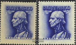 Slovakia 111X,111Y (complete Issue) Unmounted Mint / Never Hinged 1943 A. Hlinka - Slovakia