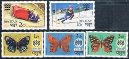 Bhutan 1975 / 76  -  Yvert  447 / 449 + 483 / 484   ( ** ) - Bhután