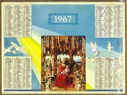 Calendrier PTT Double 1967 - La Vierge à L'Enfant - Calendars