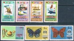 Bhutan 1974 / 75  -  Yvert  438 / 439 + 440 / 441 + 449 / 450 + 457   ( ** ) - Bhután
