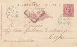 Serre. 1892. Annullo Grande Cerchio SERRE, Su Cartolina Postale Con Testo - Marcophilie