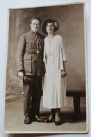 Carte Photo Portrait Soldat 106 Au Col Avec Femme élégante Au Chapeau J. M. André Photographe Reims - Regiments