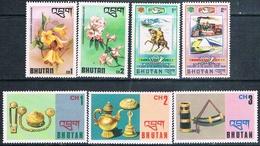 Bhutan 1975 / 76  -  Yvert  438 / 439 + 457 / 59 + 475 / 476   ( ** ) - Bhután
