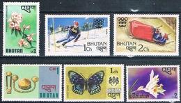 Bhutan 1975 / 76  -  Yvert  449 + 457 + 476 + 483 / 484 + 509   ( ** ) - Bhután