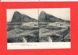 Autour De La Méditéranée Cpa Stéréoscopique GIBRALTAR Le Rocher   22  LL - Gibraltar