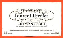 étiquette De Champagne Brut Crémant Laurent Perrier à Tours Sur Marne - 75 Cl - Champagne