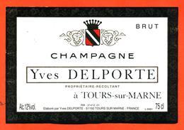 étiquette De Champagne Brut Yves Delporte à Tours Sur Marne - 75 Cl - Champagne