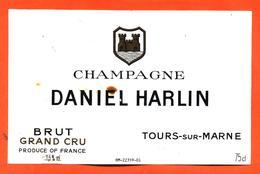étiquette De Champagne Brut Daniel Harlin à Tours Sur Marne - 75 Cl - Champagne