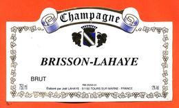 étiquette De Champagne Brut Brisson Lahaye à Tours Sur Marne - 75 Cl - Champagne