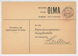 CARTOLINA  POSTALE   POSTKARTE    DA ST. GALLEN  PER  HEIDEN    1945       (VIAGGIATA) - Entiers Postaux