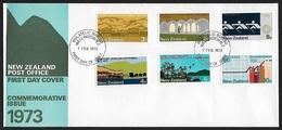 1973 - NEW ZEALAND - FDC + SG 997/1002 + WELLINGTON - FDC