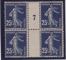 FRANCE : N° 140 B ** . TYPE SEMEUSE . BLOC DE 4 . MILL7 . TB 1907 . - 1877-1920: Période Semi Moderne