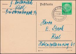 515 Hindenburg 5 Pf. EF Postkarte SSt KIEL Führerthing Der Nordmark-JH 7.6.38 - Deutschland
