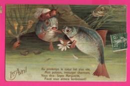 CPA (Ref: Z 1391) ) 1er AVRIL POISSON D'AVRIL Gaufrée - 1er Avril - Poisson D'avril