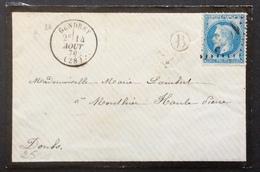 25 Jura Gendrey BOÎTE RURALE «B» GC1835 14/8/1870 Bureau De Passe 1307 T 29 - 1849-1876: Période Classique