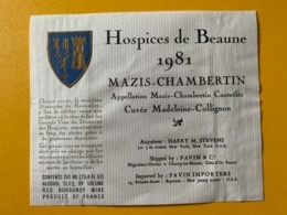 9331 - Mazis-Chambertin 1981 Hospices De Beaune Cuvée Madeleine-Collignon - Bourgogne