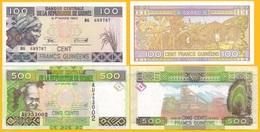 Guinea Set 100 & 500 Francs 2015/2017 UNC Banknotes - Guinea
