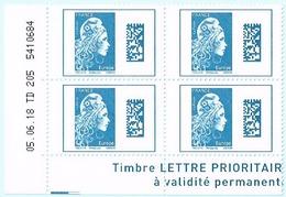 France 2018 Coins Daté X4TP Marianne L'engagée Tarif Europe 05-06-18 TD 205 5410684 - Coins Datés