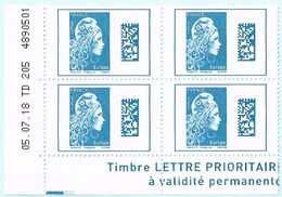 France 2018 Coins Daté X4TP Marianne L'engagée Tarif Europe 05-07-18 TD 205 4890501 - Coins Datés