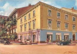 """M08044 """"ALBERGO RISTORANTE PENSIONE CENTRALE-BORDIGHERA""""TIMBRO DELL'HOTEL-ILLUS. S. MUSSO-CART. ILLUSTR. ORIG. SPED.1960 - Altre Città"""
