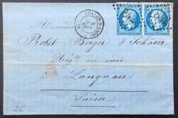 26 Saône Et Loire Chalon Sur Marne Vers Suisse «PD» GC 842 Bureau De Passe 1307 3/10/1866 T 22 X 2 - 1849-1876: Période Classique