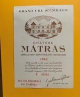 9497 - Château Matras 1962 Saint-Emilion - Bordeaux