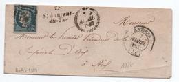 1853 - N° 4 Sur ENVELOPPE Avec CURSIVE ST SAINT LAURENT DU VAR & TYPE 14 D'ANTIBES (ALPES MARITIMES / VAR) - Marcophilie (Lettres)