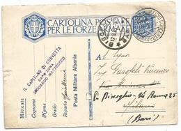 Occupazione Militare Albania Cartolina Franchigia Militare #F19A Avorio Da PM402 Il 7ago1939 X Milano Poi Bisceglie - 9. Occupazione 2a Guerra (Italia)