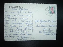 CP TP SEMEUSE 0,20 OBL. HEXAGONALE Tiretée 27-7 1962 LAVIGERIE CANTAL (15) - Marcophilie (Lettres)