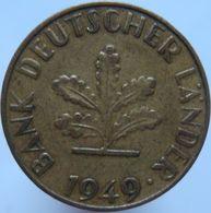 Germany 10 Pfennig 1949 J VF Big J - 10 Pfennig