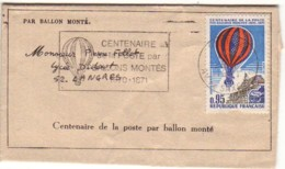 FRANCE : 1971 - Par Ballon Monté -  Centenaire - De Paris Pour Langres -  Atterrissage à Betz - France