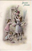 Fillettes Composant Un Bouquet. Carte Illustrée - Taferelen En Landschappen