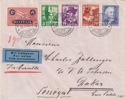 """SUISSE : POSTE AÉRIENNE . AFFRANCHISSEMENT A 1.10 F . POUR """" DAKAR """" . ( SÉNÉGAL ) . 1935 . - Suisse"""