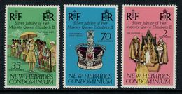 New Hebrides // 1960-1980 // 1977 // 25ème Anniversaire De L'accession Au Trône Timbres Neufs** MNH No. Y&T 447-449 - Légende Anglaise