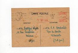 !!! PRIX FIXE : ENTIER POSTAL MECANIQUE DE TOULOUSE SUR CARTE DE 1944 - Postal Stamped Stationery
