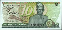 ZAIRE - 10 Zaires 27.10.1985 UNC P.27 A - Zaire