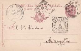 INTERO POSTALE CENT. 10 - BERGAMO - VIAGGIATA PER OLMO AL BREMBO ( BERGAMO) - 1878-00 Umberto I
