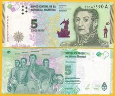 Argentina 5 Pesos P-359a 2015 (Suffix A) UNC Banknote - Argentina