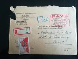 Enveloppe Administration Des Postes De La Sarre De 1950 - Postmark Collection (Covers)