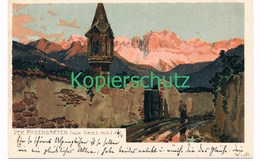 745 Zeno Diemer Bozen Rosengarten Von Gries Litho Künstlerkarte - Diemer, Zeno