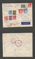 DUTCH INDIES. 1949 (31 Oct) Ampenan - USA, Waterloo, Lowa. (Nov 7-8) Air Multifkd Envelope. - Netherlands Indies